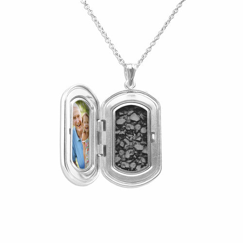 EverWith Large Rounded Rectangle Shaped Sterling Silver Memorial Ashes Locket