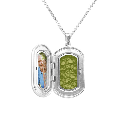 EverWith™ Large Rounded Rectangle Shaped Sterling Silver Memorial Ashes Locket