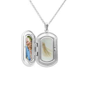 EverWith™ Large Rounded Rectangle Shaped Sterling Silver Cremation Ashes Locket