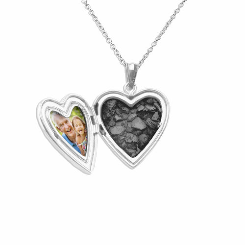 EverWith Footsteps Heart Shaped Sterling Silver Memorial Ashes Locket