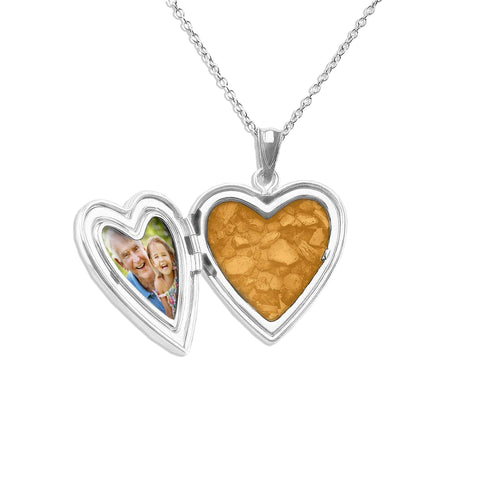 EverWith™ Footsteps Heart Shaped Sterling Silver Cremation Ashes Locket