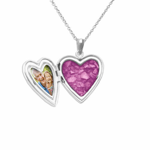 EverWith™ Pink Rose Heart Shaped Sterling Silver Cremation Ashes Locket