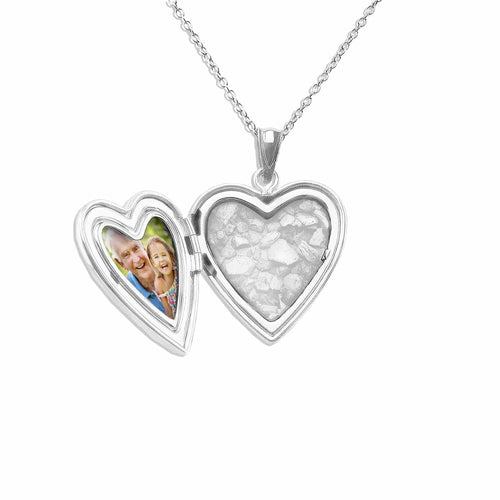 EverWith™ Footsteps Heart Shaped Sterling Silver Memorial Ashes Locket