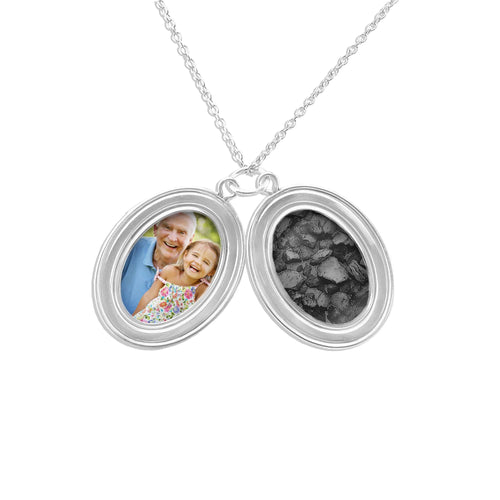 EverWith Shining Star Oval Shaped Sterling Silver Memorial Ashes Locket