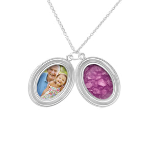 EverWith™ Shining Star Oval Shaped Sterling Silver Cremation Ashes Locket