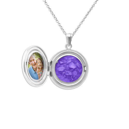 EverWith™ Circular Shaped Sterling Silver Cremation Ashes Locket