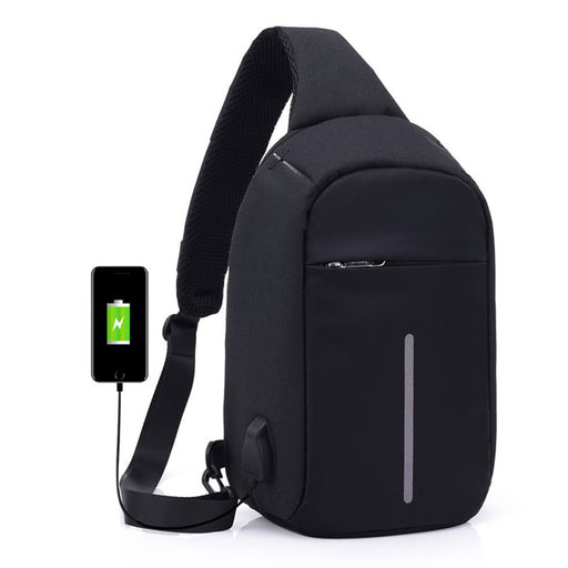 Anti-theft Sling Shoulder Bag with External USB Charge Crossbody Chest Bags Backpack for Cycling Hiking Outdoor Travel Men Women Casual Reflective Stripe Black