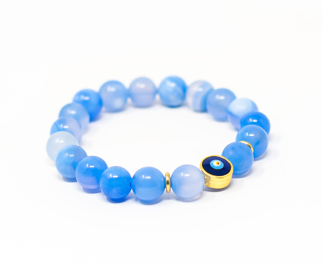 Light Blue Agate Evil Eye Single
