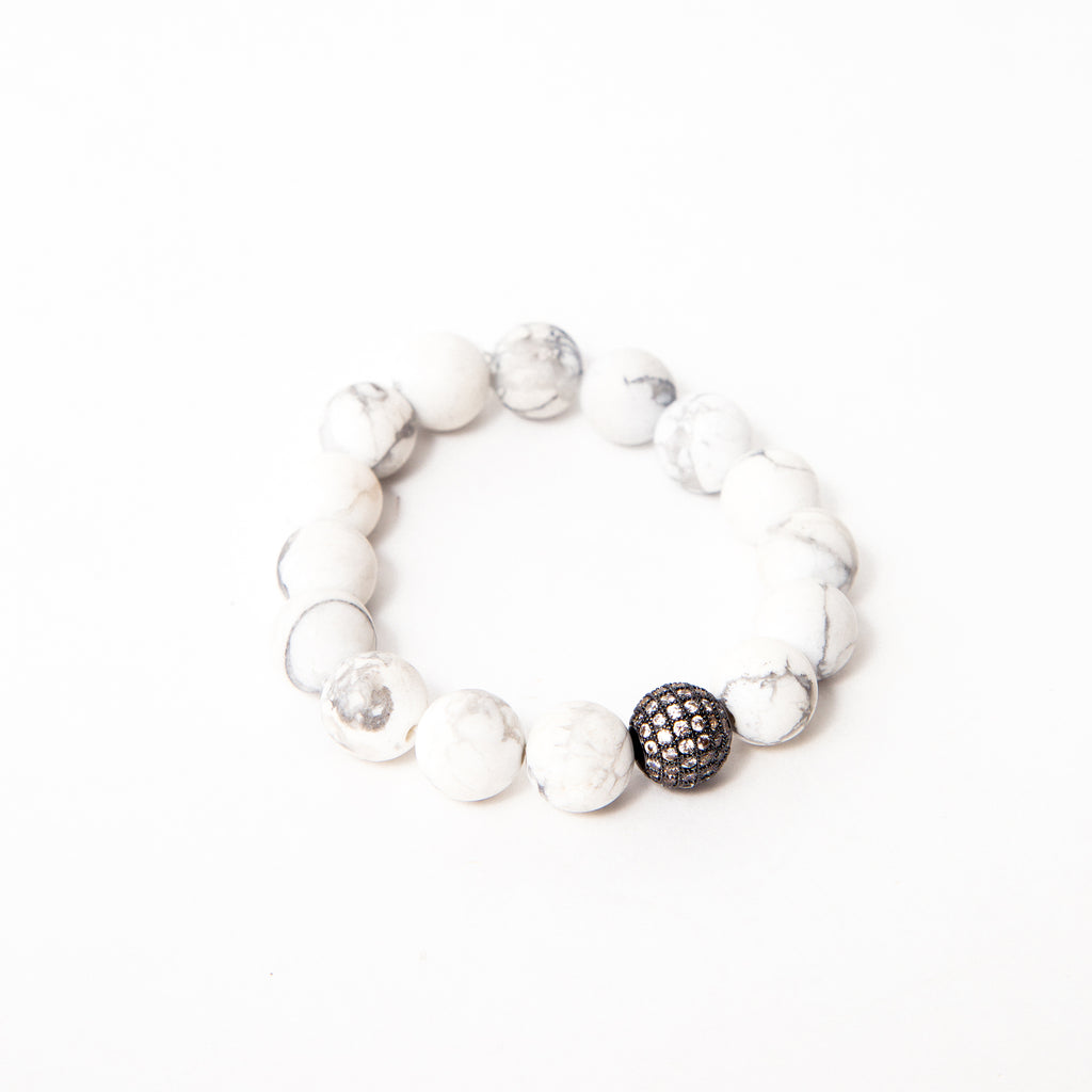 White Matte Howlite with Gunmetal Pave Accent