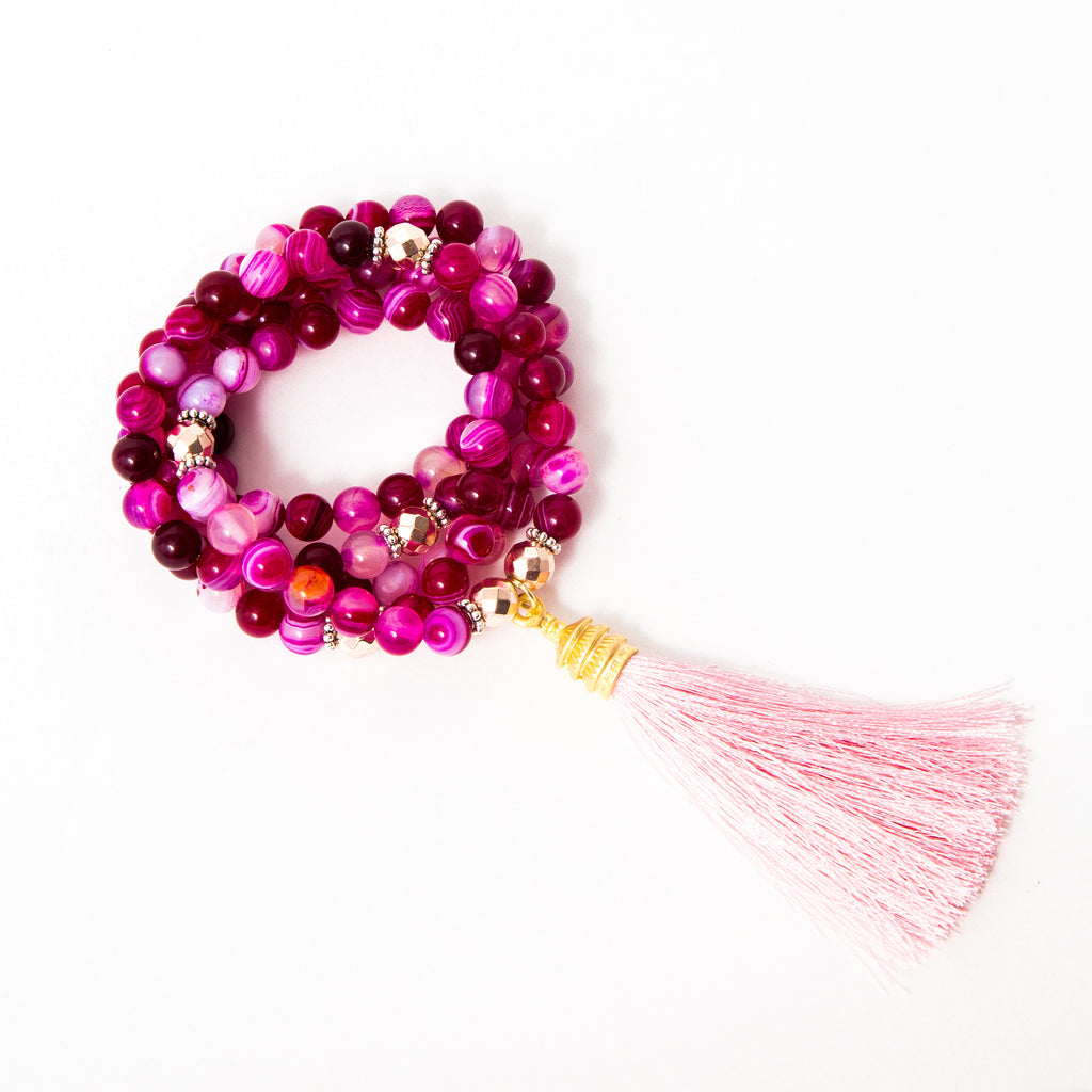 Hot Pink Agate and Rose Gold Mala or Wrap Bracelet with Light Pink Tassel Edged in Gold