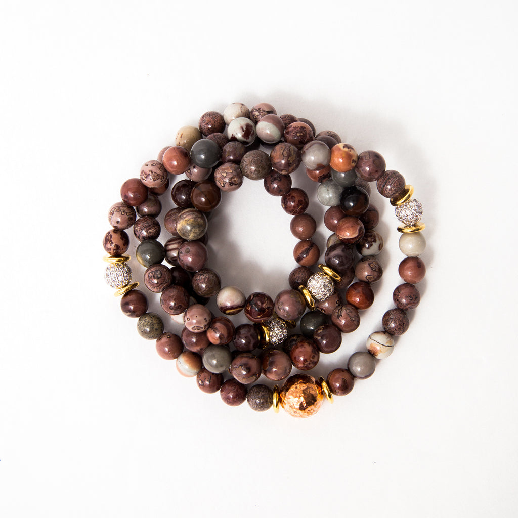 Ocean Jasper Luxe Mala with Silver Pavé and Chunky Copper Accents