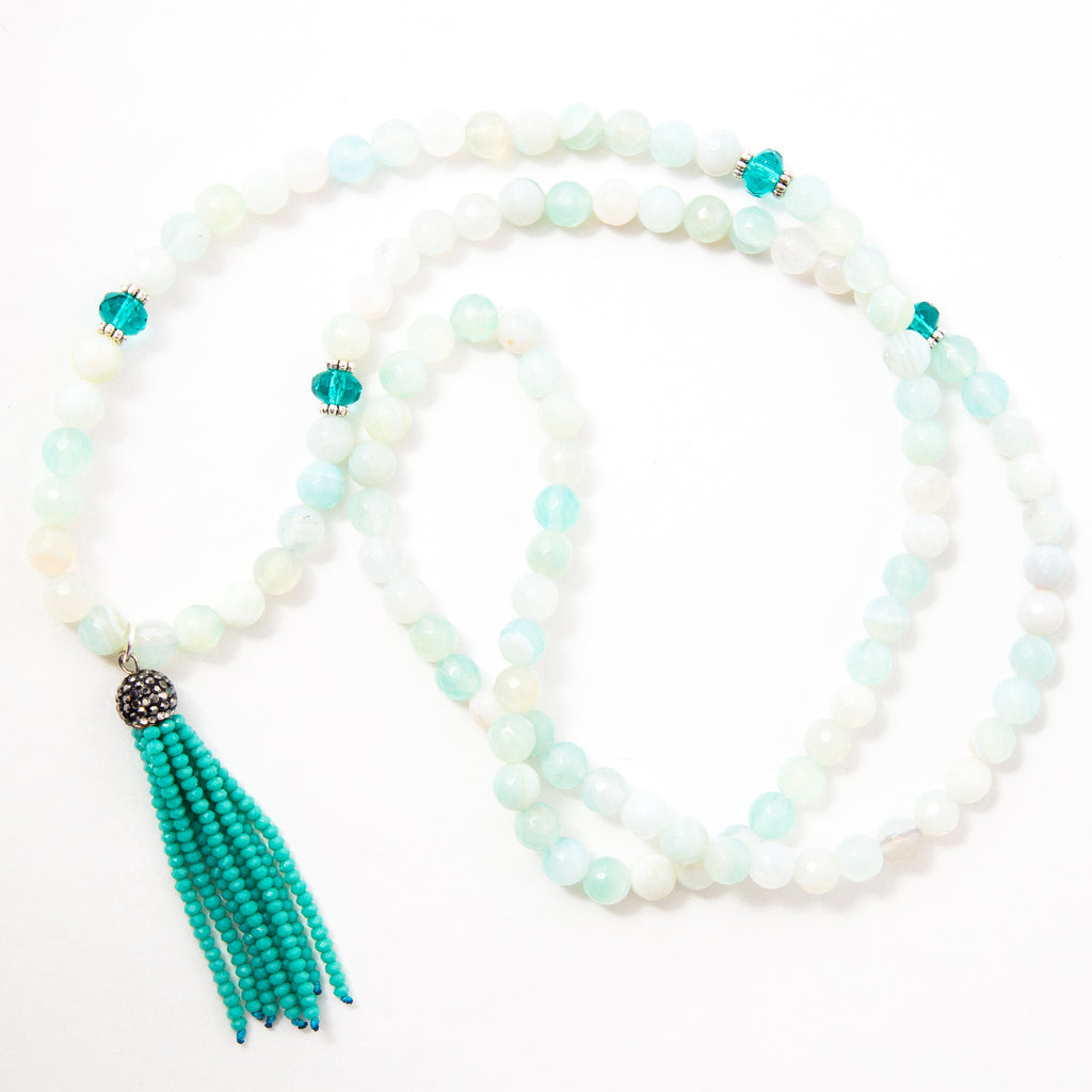 Seafoam Serenity Mala with Faceted Aqua Agate and Turquoise Czech Crystal Tassel