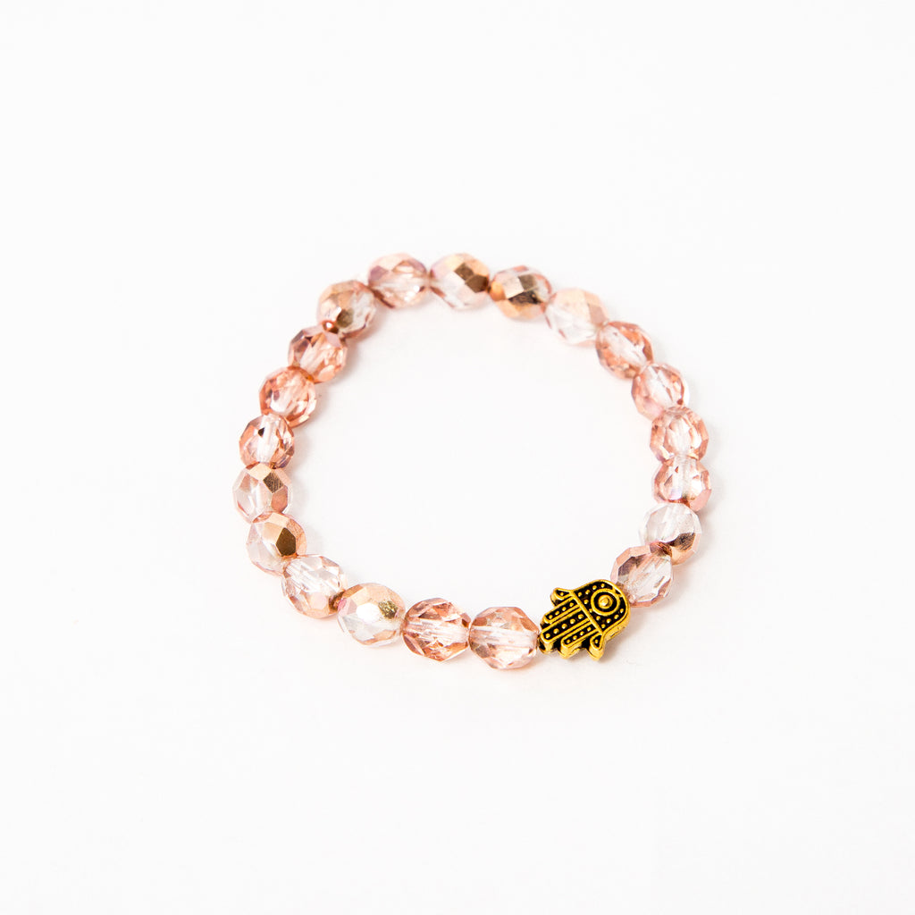 Pink Faceted Czech Single with Hamsa (or Rose Gold Hematite)