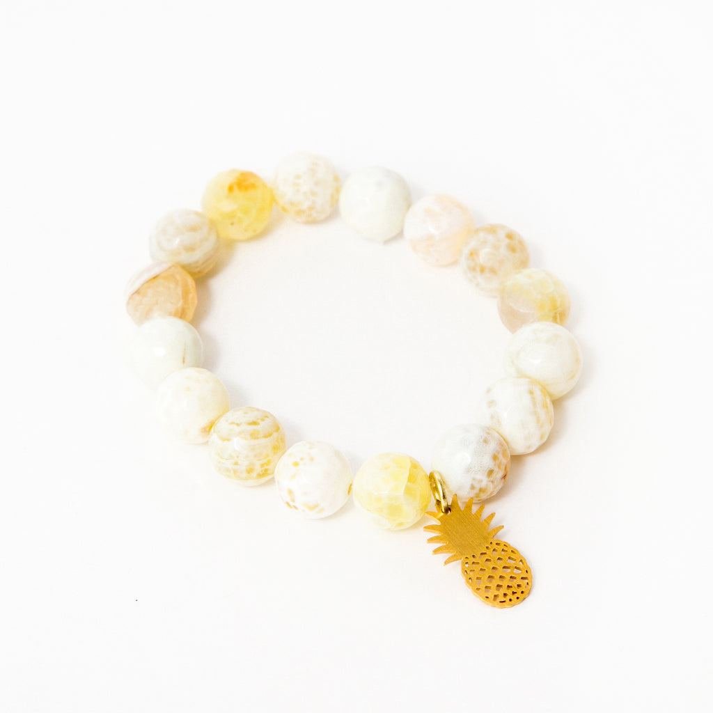 Yellow Faceted Agate with Bright Gold Pineapple Accent