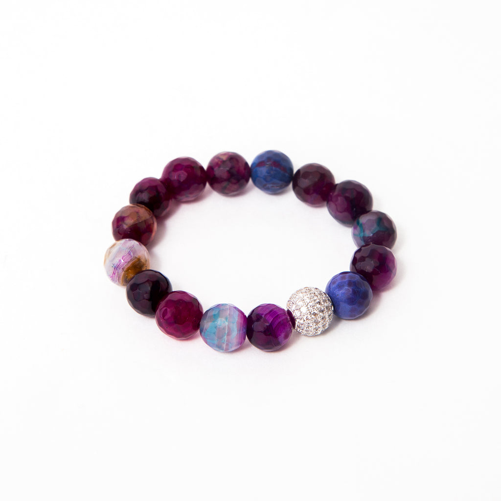 Purple Mermaid Faceted Agate Single with Bright Silver Round Pavé