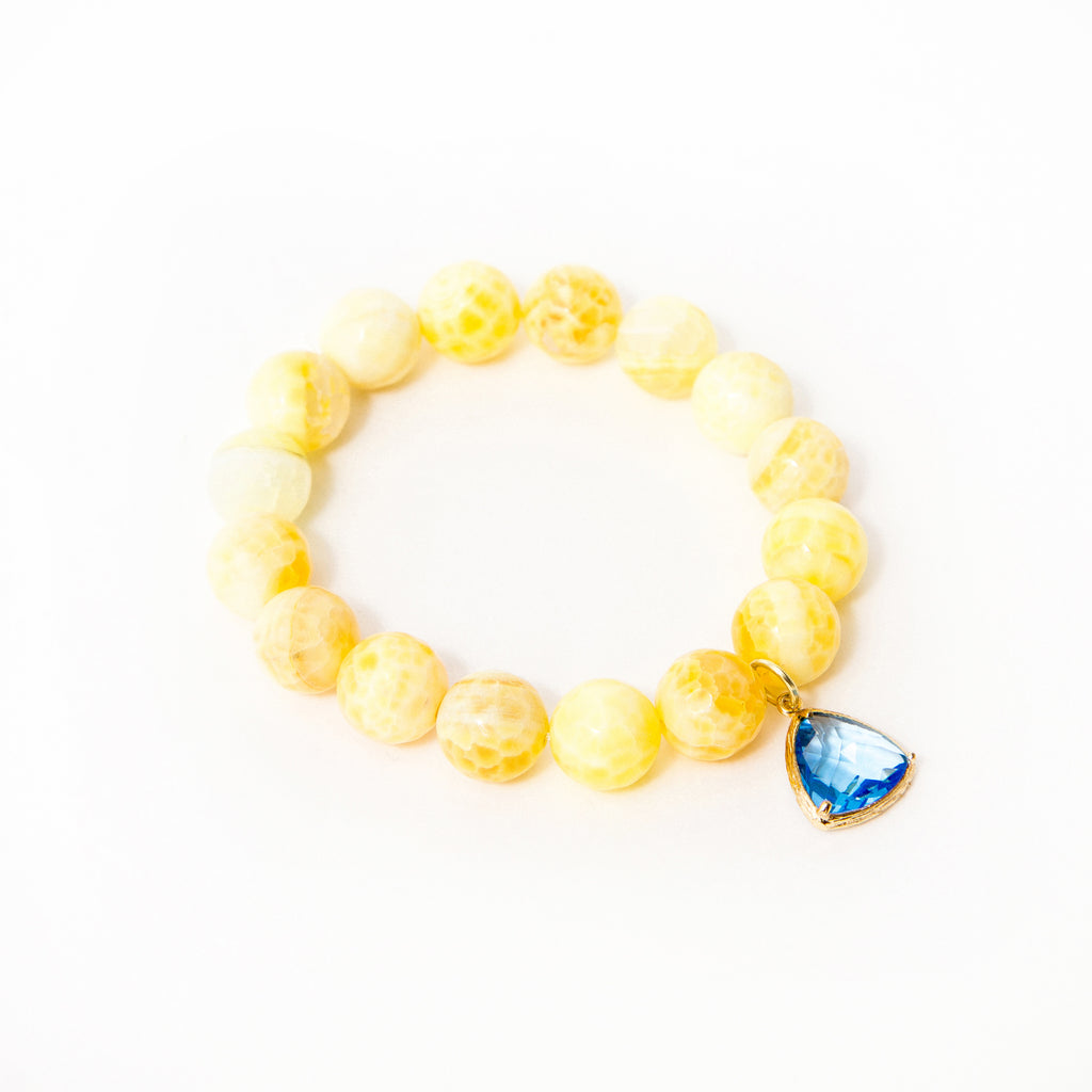 Yellow Fire Crackled Agate with Sapphire Triangle Bezel