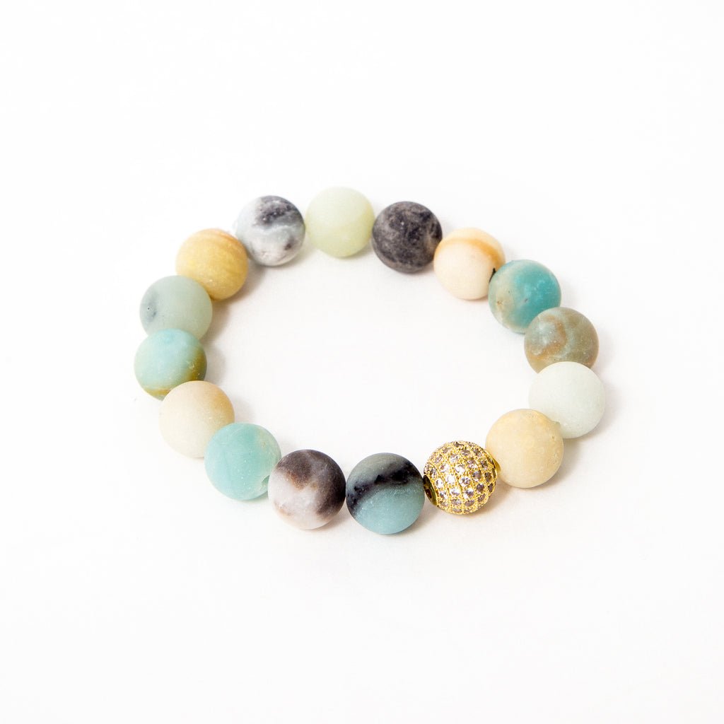 Natural Matte Amazonite with Gold Pavé Focal