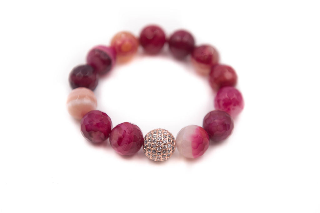 Chunky Fuschia Single with Rose Gold Pave