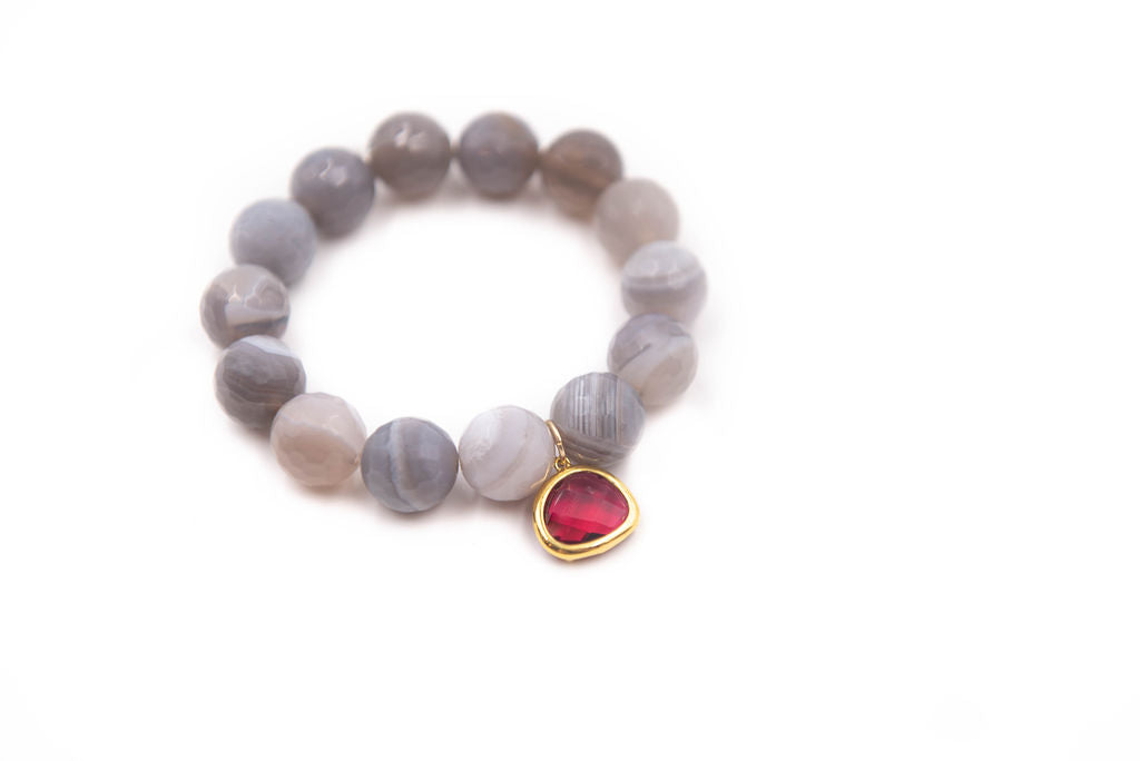 Grey Agate with Rich Red Crystal
