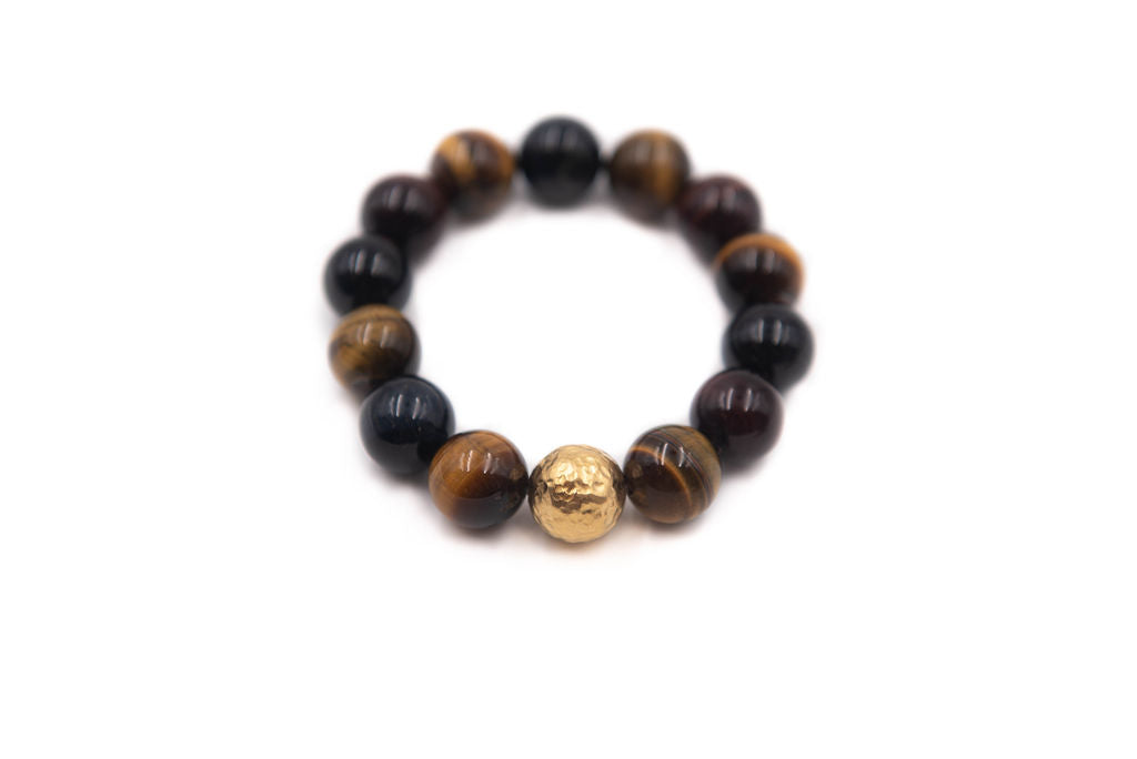 Chunky Tiger's Eye with Hammered Gold