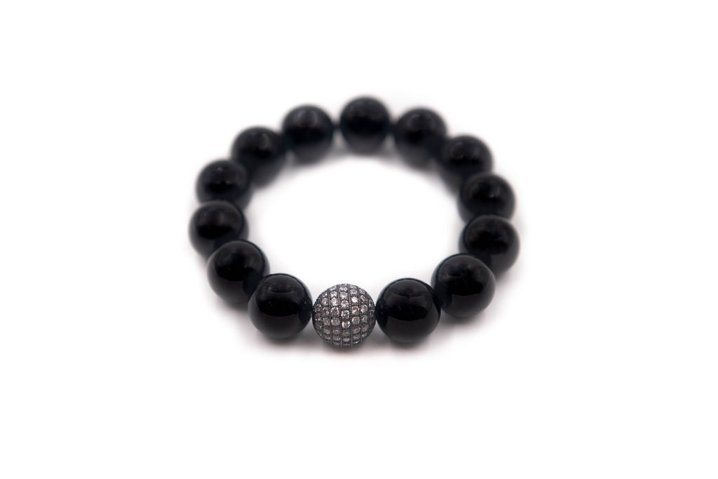 Black Agate Single with Gunmetal Pave