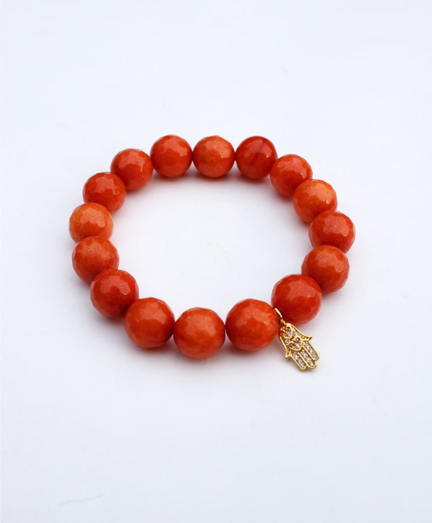 Deep Orange Jade Hamsa Single