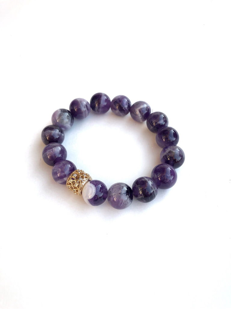 Amethyst Gold Pavé Barrel Single