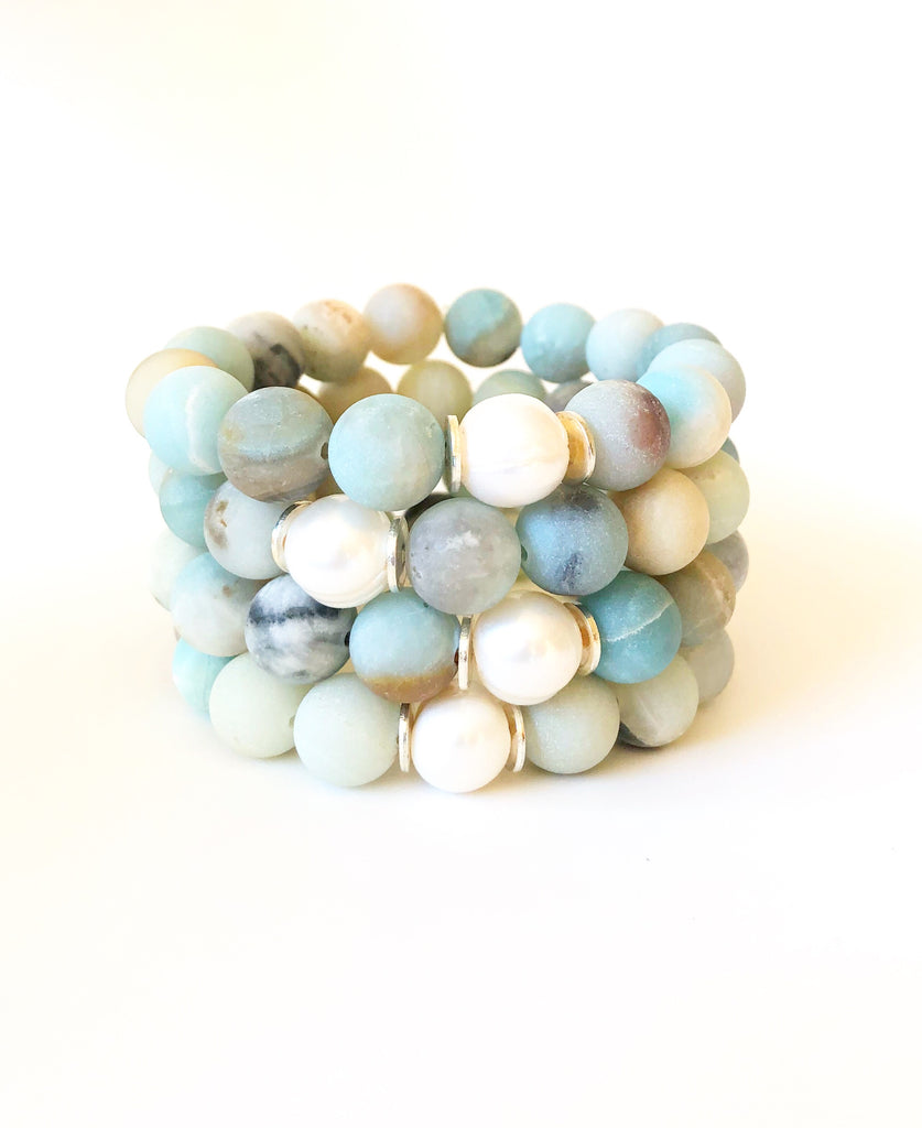 Amazonite and Freshwater Pearl Single