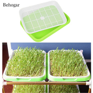 Behogar Double Layer Hydroponics Seedling Sprouter Nursery Tray Plant Germination Trays Plate Basket for Home Green Seed Tools