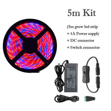Load image into Gallery viewer, Plant Grow lights Full Spectrum LED Strip Flower phyto lamp 5m Dimmable Red blue 4:1 for Greenhouse Hydroponic + Power adapter