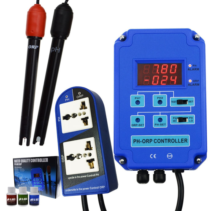Digital pH ORP Redox 2 in 1 Controller w/ Output Power Relay Control Electrode Probe