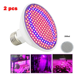 2 pcs 200 LEDs E27 LED Plant Grow Light Lamp Growing Lights Bulbs for Hydroponics indoor Flower Plants Vegetable Green House
