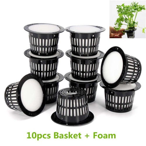 10Pcs Mesh Pot Net Cup Basket Hydroponic System Garden Plant Grow Vegetable Cloning Foam Insert Seed Germinate Nursery Pots