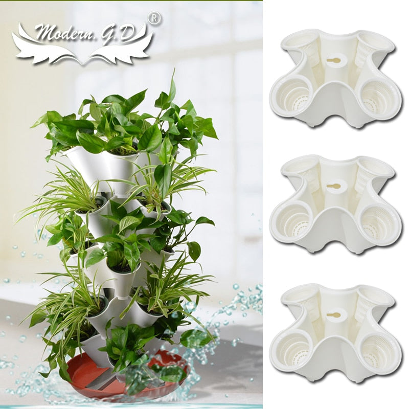 Stacked Vertical Garden and home Planters Decoration flower pot