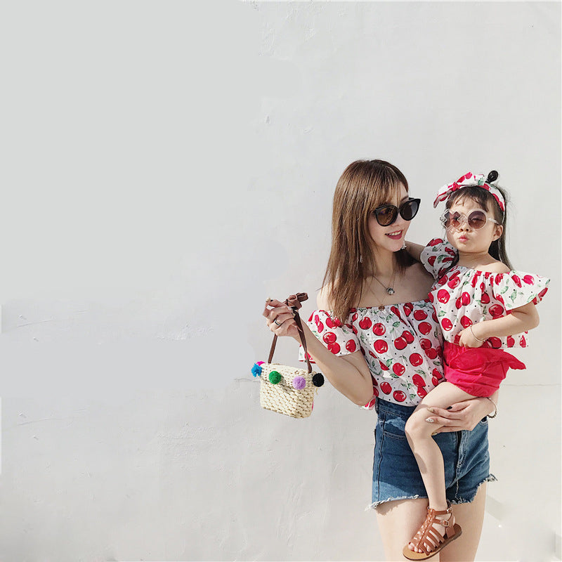 Family Matching Outfits Mother Daughter T-shirt Top Tee Cherry 2Pcs Sets  for girls Beach fa698b00fdc5