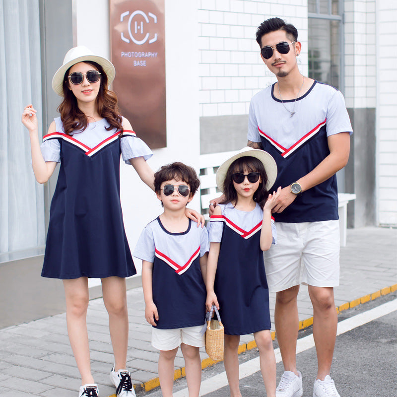 bcc77bcc9ea2 Mother daughter dress summer family matching outfits Korean clothes girls  dress Father daughter Mother son boys