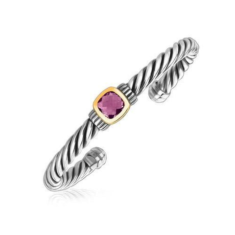 18k Yellow Gold and Sterling Silver Rope Cuff Bangle with Amethyst Centerpiece, size 7.5''