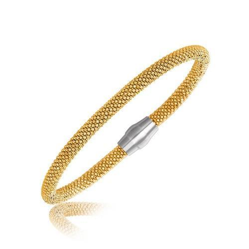 Sterling Silver Rhodium Plated Yellow Gold Plated Popcorn Motif Bangle, size 7.5''