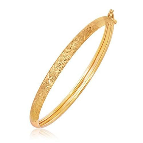 14k Yellow Gold Diamond Cut Motif Dome Style Children's Bangle, size 5.5''