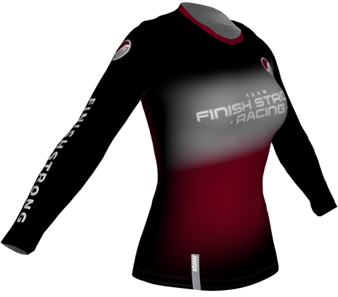 Running Shirt LONG Sleeve FSR Logo BLACK/BURGUNDY DESERT - WOMEN