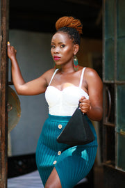 Zikki diamond clutch - Black - Wazawazi Leather