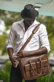 Apollo Briefcase - Wazawazi Leather