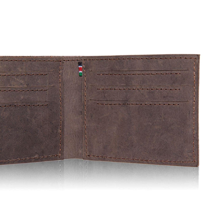 Mo Leather Wallet for Men Dark Brown Details