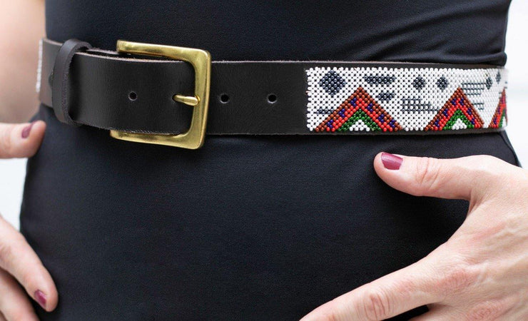 Mwende beaded leather belt - Le edition