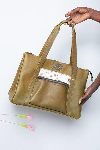 Makosewe Leather Handbag - Jungle Green