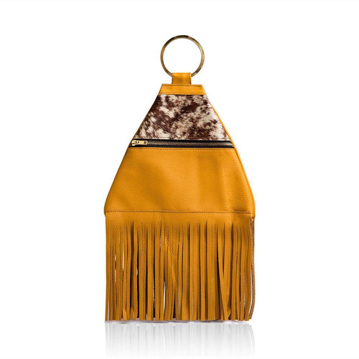 Inga Fringe Leather Clutch - yellow - Wazawazi Leather