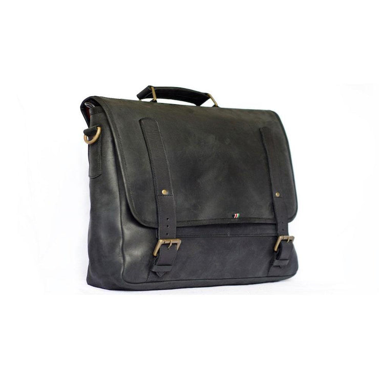 Mo Messenger Leather Laptop Bag- black - Wazawazi Leather