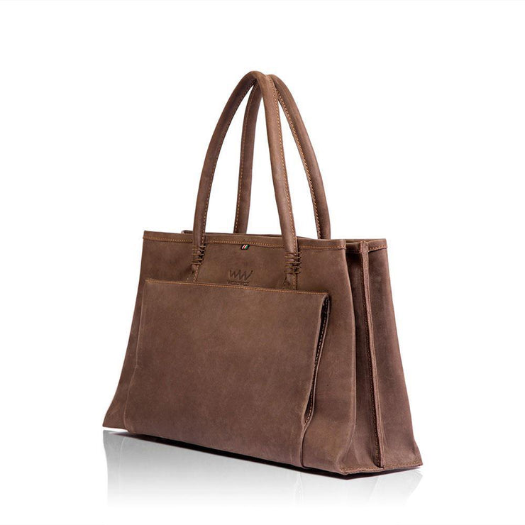 Sanga Leather Handbag- Brown - Wazawazi Leather