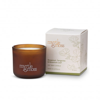 SOY WAX CANDLES BERGAMOT RIND, TANGERINE & GERANIUM LEAF MINI