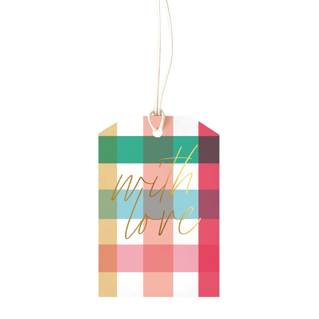 GINGHAM BRIGHT (with love) - Gift Tag